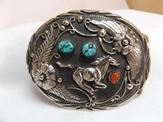 S S I Belt Buckle  Genuine Turquoise  Coral