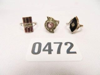 ladies Fashion Rings   3  Assorted