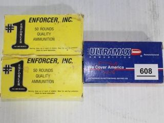 2 Boxes Enforcer 9mm FMJ  1 Box of Various 9mm   W