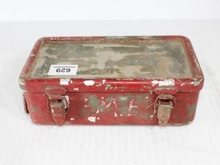 Red Ammo Box with Contents   Old Ammo   Brass