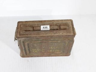 Rusty Green Ammo Box with Contents   2   Superfine
