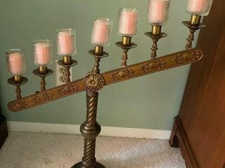 Brass 7-Hole Adjustable Menorah/Candle Stand
