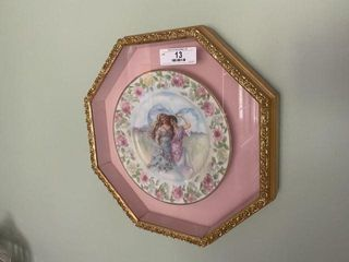 Pair of Framed Portrait Plates on Wall