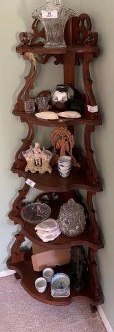 Ornate 5-Tier Corner Shelf - No Contents