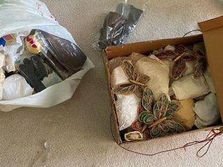 Box of Christmas Ornaments, Gloves, & Miscellaneou
