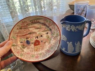 Wedgewood Creamer and Oriental Plate