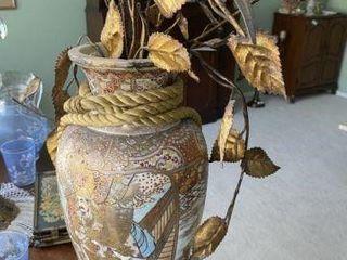 Oriental Vase With Metal Flowers