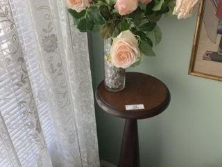 Wooden Fern Stand With Vase & Flowers