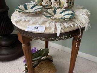 Small Table, Italian Capodimonte Lidded Box, & Dis