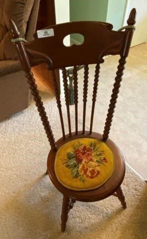 Antique Chair With Needlepoint Cushion