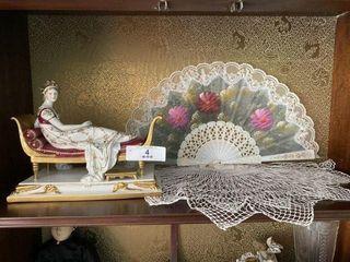 German Porcelain Madame Recamier & Hand Fan