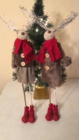 (2) Matching Reindeer Christmas Decor