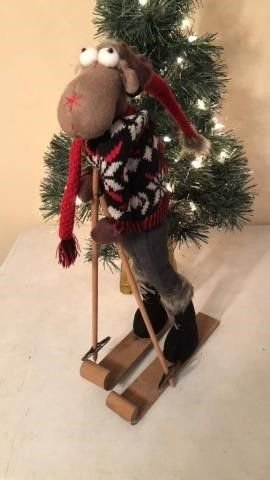 Skiing Moose Figurine
