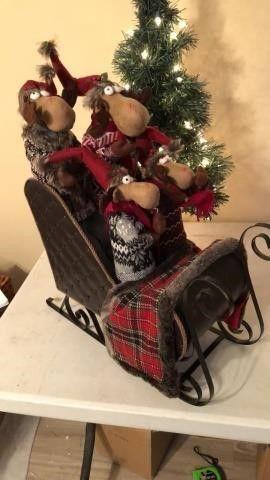 Moose in Sleigh Christmas Decor