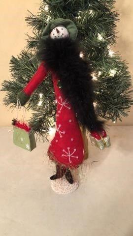 Shopping Snowman Figurine