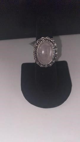 Rose Quartz Color German Silver Ring