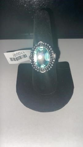 Green Amethyst Color German Silver Ring