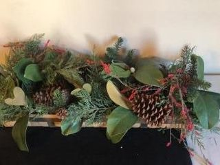 Christmas Floral Arrangement in Woven Basket