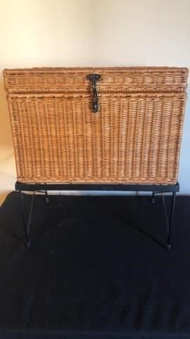 Wicker chest on metal stand
