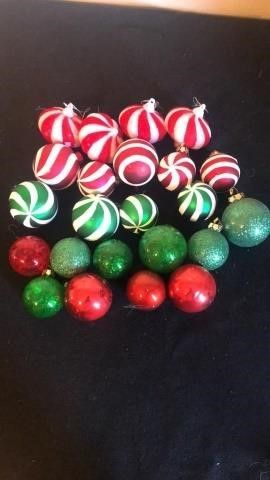 Assortment of red and green Christmas Ornaments