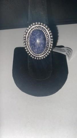 Lapis Color German Silver Ring