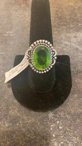 Peridot Color German Silver Ring