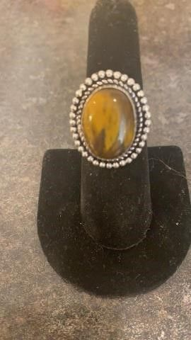 Tiger Eye Color German Silver Ring