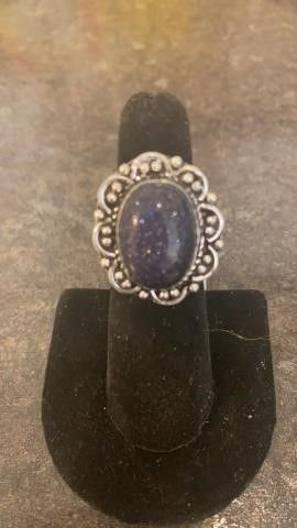 Blue Sun Stone Color German Silver Ring
