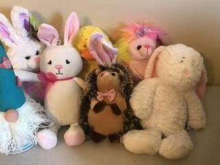 Stuffed animals and Easter decor