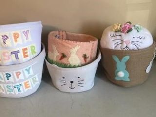 (6) Assorted Fabric Easter baskets