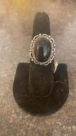 Black Onyx Color German Silver Ring