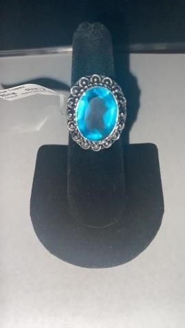 Blue Topaz Color German Silver Ring