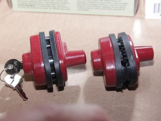 pair of red trigger locks