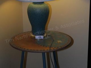 Teal lamp & yin yang end table