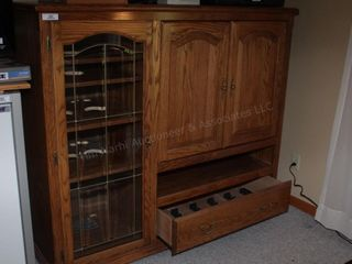 Oak Cabinet w/ glass door 62wx22.5dx54h