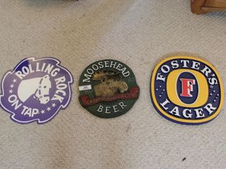 Beer Signs: Moosehead, Fosters, Rolling Rock