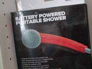 Battery powered portable shower