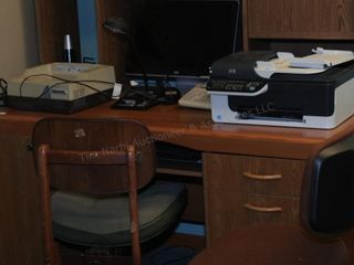Desk, printer, shredder & monitor (late pick-up)