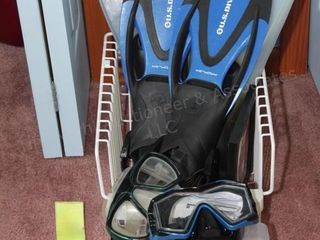 swim fins, weights, goggles etc