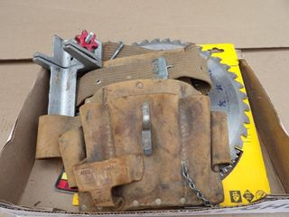"Saw Blades mostly 7 1/4"", 10"" blades & tool pouch"