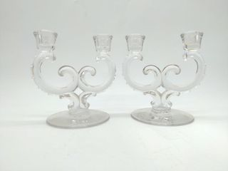 "(2) Glass Candle Stick Holders 7"" Tall 6.5"" Wide"