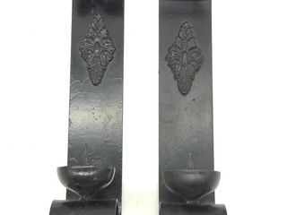 "(2) Wrought Iron Candle Holders 16.5"" Tall"