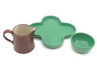 "Romafin Ceramic Pitcher 6"", Ceramic Bowl, and"