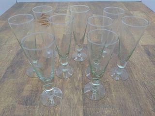 (9) Glass Flutes 8.75