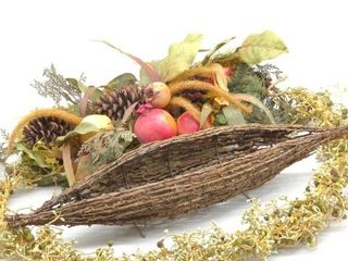 Table Decor 3pc - Wicker Boat, and Faux Plants