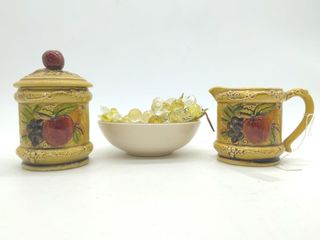 Lefton's Creamer and Sugar Set, Faux Grapes, and