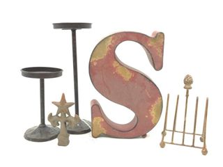 "(2) Metal Candle Stands 10"" and 6"", Metal Letter"