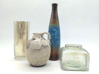 "Ceramic and Class Decore (4pc) Set - Clear Jar 4"""