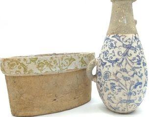 "Glazed Concrete Vase 13"" and Planter 13""x6"""