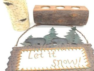 (2) Log Candle Holders and Metal Holiday Hanger